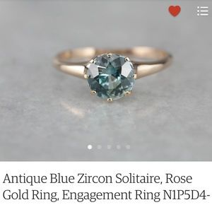 Jewelry - Antique Blue Zircon and Rose Gold Solitaire Ring